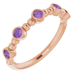 14K Rose Amethyst Stackable Beaded Ring