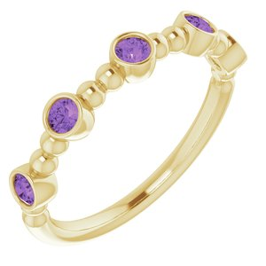 14K Yellow Amethyst Stackable Beaded Ring