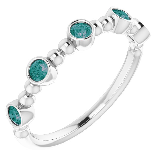 Sterling Silver Lab-Grown Alexandrite Stackable Bead Ring