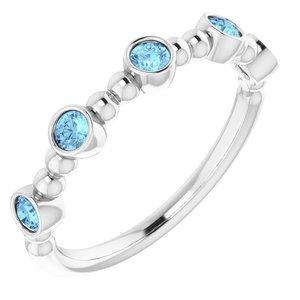 14K White Aquamarine Stackable Beaded Ring