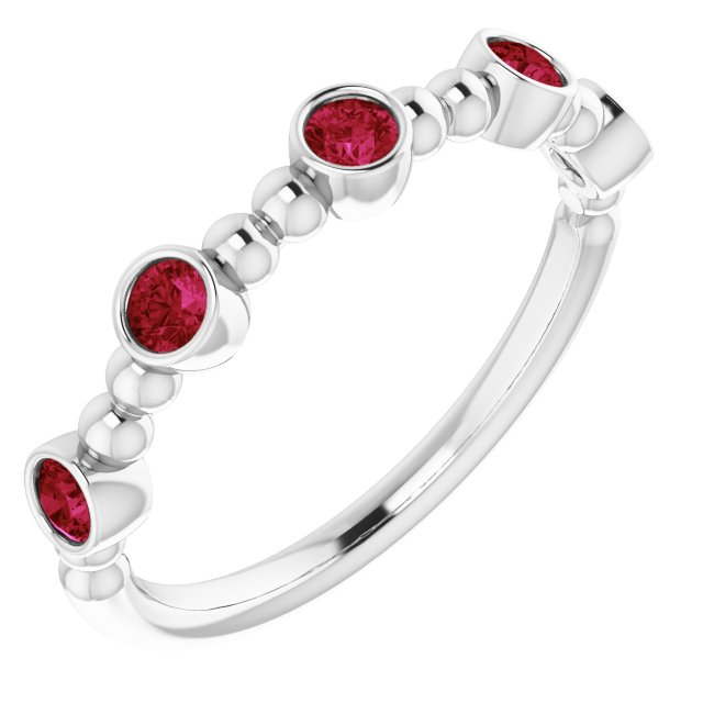 14K White Chatham® Created Ruby Stackable Beaded Ring