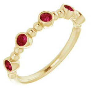 14K Yellow Ruby Stackable Beaded Ring