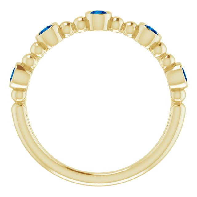 14K Yellow Stackable Blue Sapphire Bead Ring
