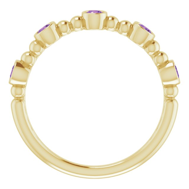 14K Yellow Stackable Amethyst Bead Ring
