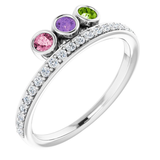 Accented Bezel-Set Family Ring