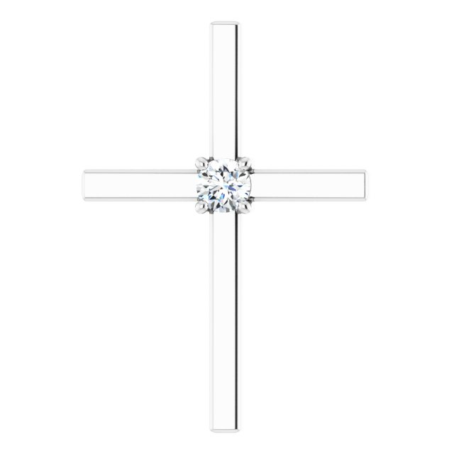 14K White .15 CT Diamond Pendant
