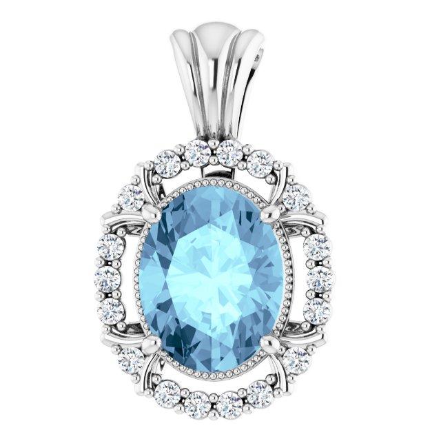 14K White Aquamarine & 1/6 CTW Diamond Pendant