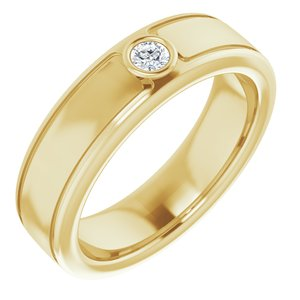 14K Yellow 3 mm Round .10 CTW Men-s Diamond Ring