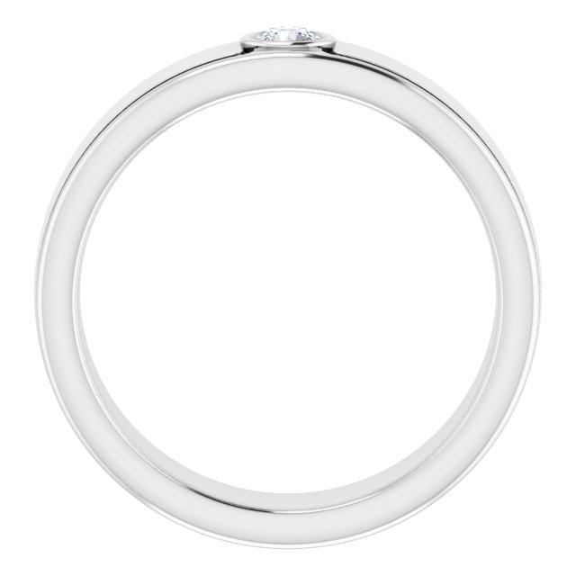 14K White 3 mm Round .10 CTW Men-s Diamond Ring