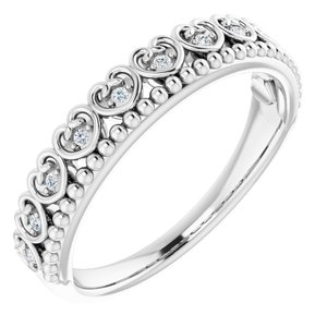 Sterling Silver .05 CTW Diamond Beaded Heart Stackable Ring