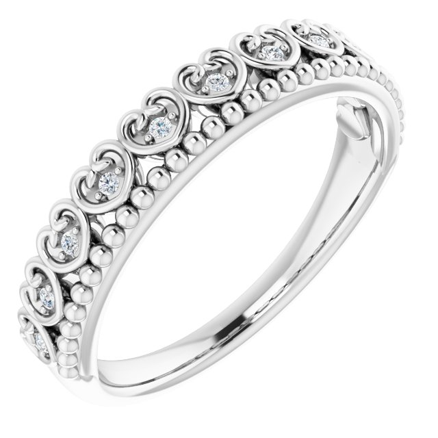 14K White .04 CTW Natural Diamond Stackable Beaded Heart Ring