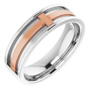 14K White/Rose 6 mm Cross Band Size 7.5