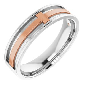 14K White/Rose 6 mm Cross Band Size 11.5