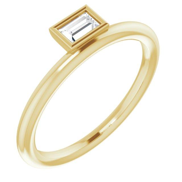 14K Yellow 1/6 CT Diamond Asymmetrical Stackable Ring