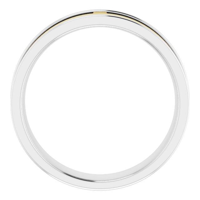 14K White/Yellow 6 mm Cross Band Size 10