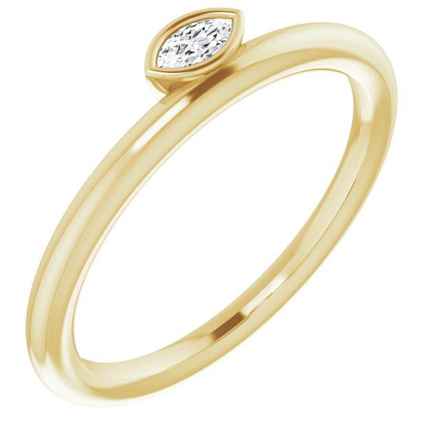 14K Yellow .07 CT Diamond Asymmetrical Stackable Ring