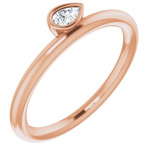 14K Rose 1/8 CT Diamond Asymmetrical Stackable Ring
