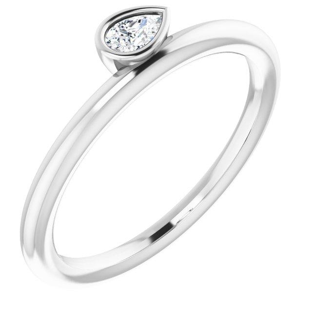 14K White 1/8 CT Diamond Asymmetrical Stackable Ring