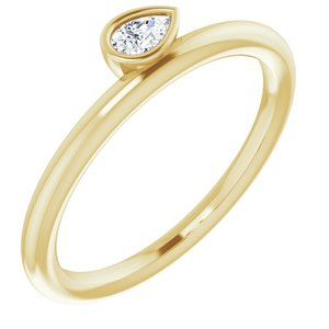 14K Yellow 1/8 CT Diamond Asymmetrical Stackable Ring