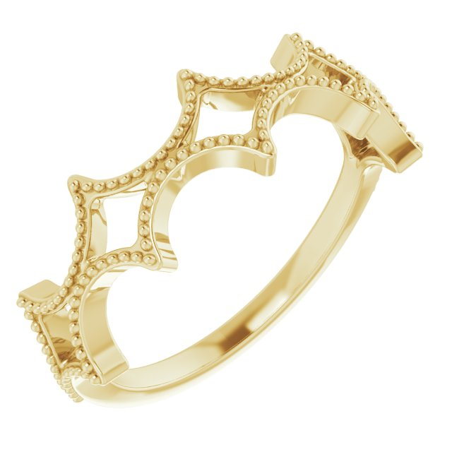 14K Yellow Stackable Geometric Ring