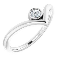 "Solitaire Bezel Set ""V"" Ring"
