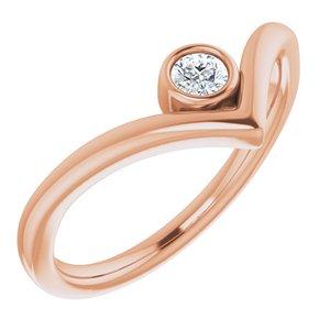"""14K Rose 1/10 CTW Diamond Solitaire Bezel-Set """"V"""" Ring"""