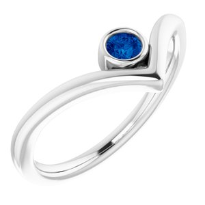 """Sterling Silver Lab-Grown Blue Sapphire Solitaire Bezel-Set """"V"""" Ring"""
