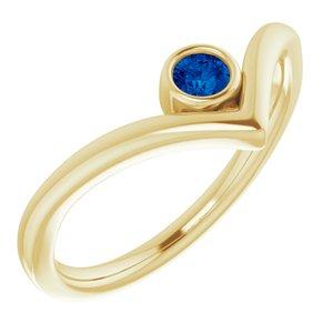 "14K Yellow Lab-Grown Blue Sapphire Solitaire Bezel-Set ""V"" Ring"