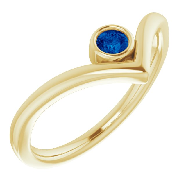 14K Yellow Chatham® Created Blue Sapphire Solitaire Bezel-Set