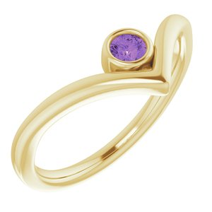 "14K Yellow Amethyst Solitaire Bezel-Set ""V"" Ring"