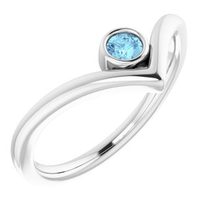 "14K White Aquamarine Solitaire Bezel-Set ""V"" Ring"