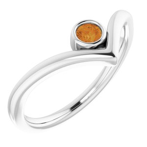 "Sterling Silver Citrine Solitaire Bezel-Set ""V"" Ring"