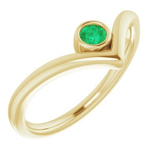 "14K Yellow Lab-Grown Emerald Solitaire Bezel-Set ""V"" Ring"
