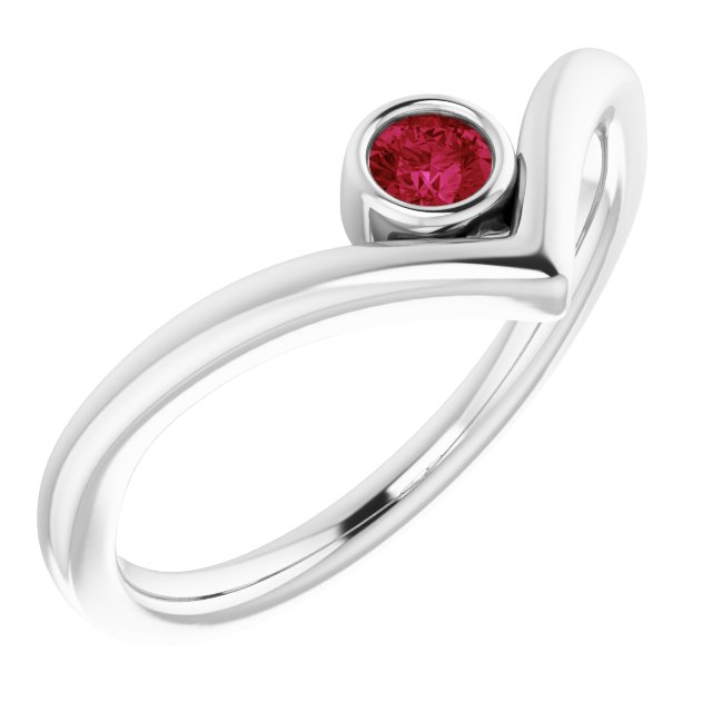 14K White Chatham® Ruby Solitaire Bezel-Set