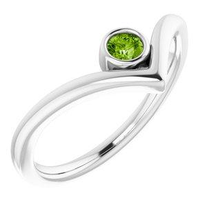 "Sterling Silver Peridot Solitaire Bezel-Set ""V"" Ring"
