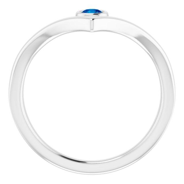 14K White Lab-Grown Blue Sapphire Solitaire Bezel-Set