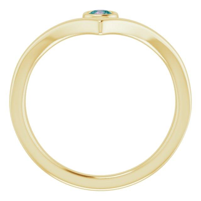 14K Yellow Chatham® Created Alexandrite Solitaire Bezel-Set