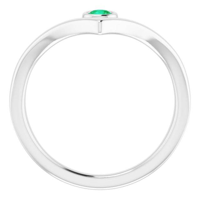 Sterling Silver Lab-Grown Emerald Solitaire Bezel-Set