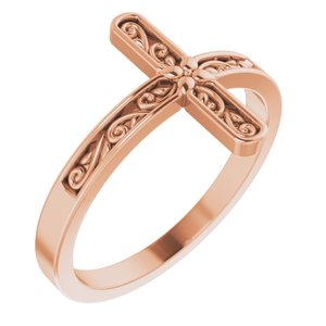 14K Rose Sideways Cross Ring