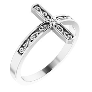 14K White Sideways Cross Ring