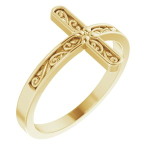 14K Yellow Sideways Cross Ring