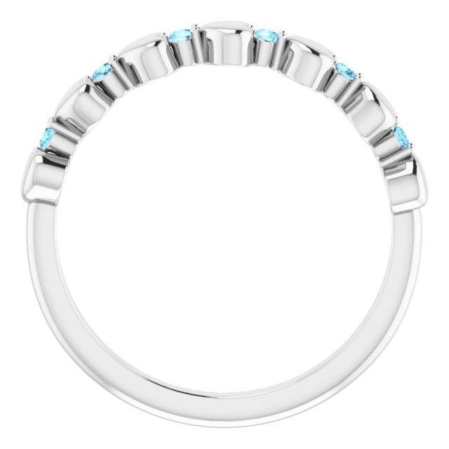 14K White Aquamarine Stackable Heart Ring
