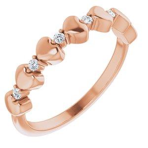 14K Rose 1/10 CTW Diamond Stackable Heart Ring