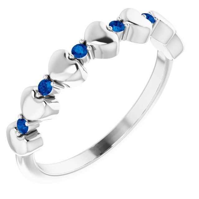 14K White Blue Sapphire Stackable Heart Ring