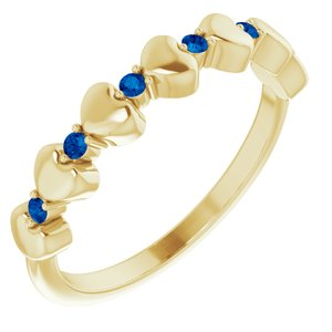 14K Yellow Blue Sapphire Stackable Heart Ring