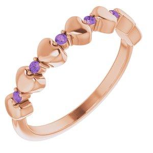 14K Rose Amethyst Stackable Heart Ring