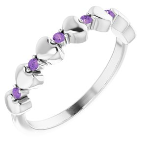 14K White Amethyst Stackable Heart Ring