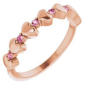 14K Rose Pink Tourmaline Stackable Heart Ring