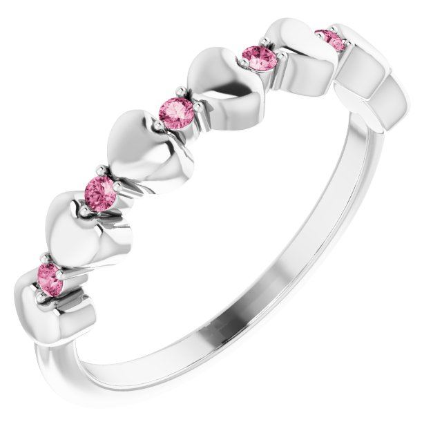 14K White Pink Tourmaline Stackable Heart Ring