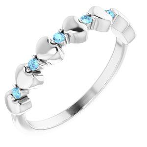 14K White Aquamarine Stackable Heart Ring